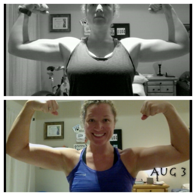 Top pic is the same April shot as above, the bottom is me as of 5 minutes ago :)
